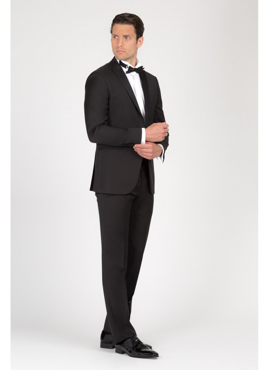 Peak lapel semi-slim tuxedo Lanificio F.LLI Cerruti - 01 - Black