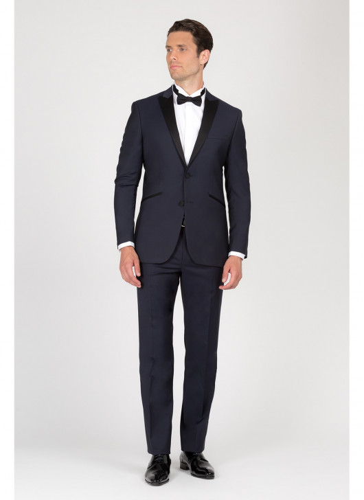 Peak lapel semi-slim tuxedo Lanificio F.LLI Cerruti - 88 - Navy Blue