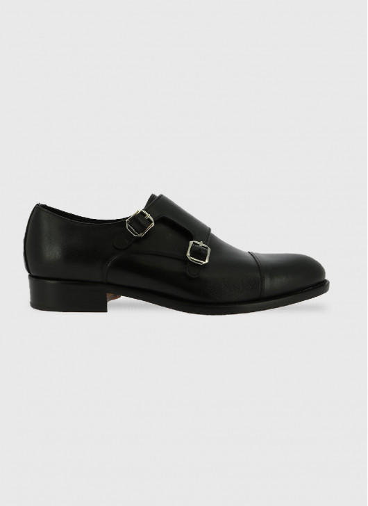Derby double bloucle en cuir Stanbridge - 01 - Noir