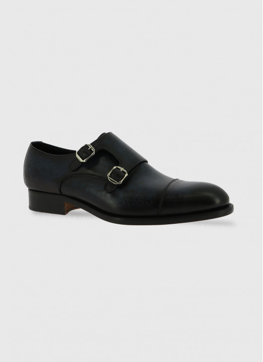 Double buckle leather shoe by Stanbridge - 83 - Blue