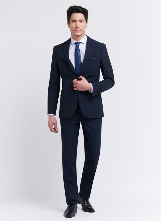 Semi-slim fit suit by Stanbridge - 88 - Navy Blue