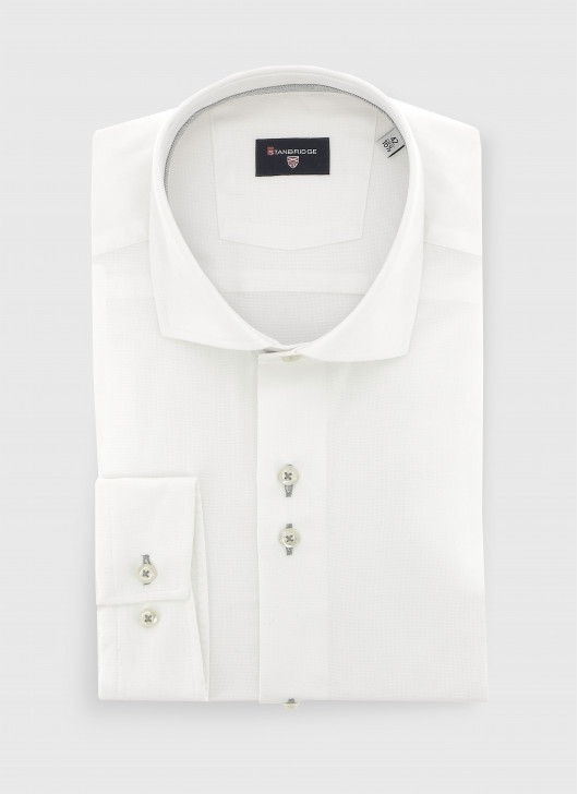 Slim fit shirt en tissus Oxford - 21 - Pearl Grey