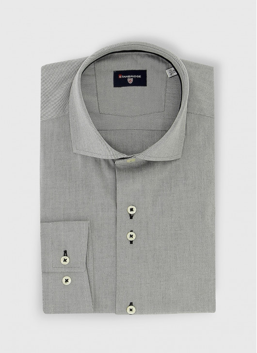 Slim fit twill shirt - 22 - Medium Grey