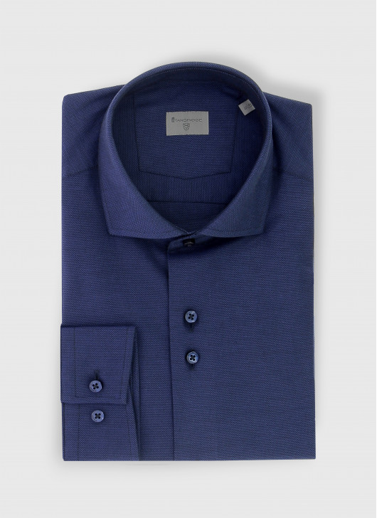 Slim fit shirt en tissus Oxford - 88 - Navy Blue
