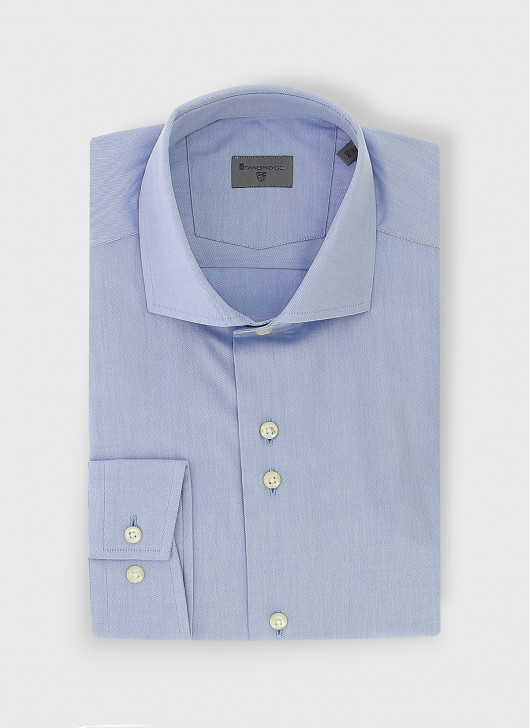 Slim fit twill shirt - 82 - Electric Bleu