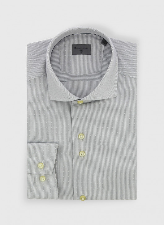 Italian collar slim fit Stanbridge shirt - 21 - Pearl Grey
