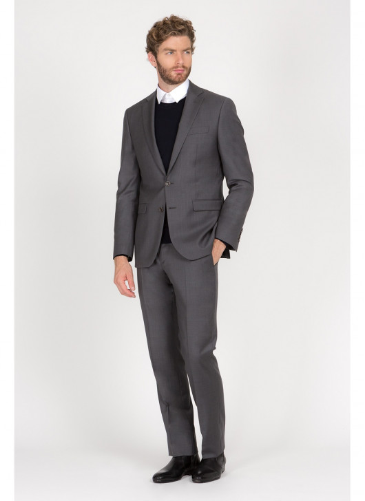 Regular Fit Suit Cloth Ermenegildo Zegna - - 23 - Dark Grey