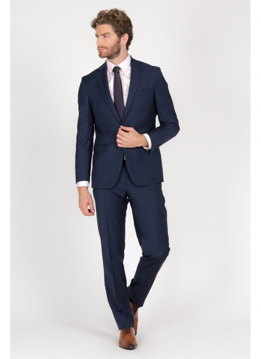 Regular Fit Suit Cloth Ermenegildo Zegna - - 87 - Petrol Blue