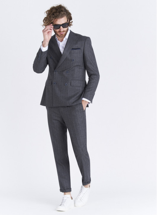 Lanificio F.LLI Cerruti DAL 1881 double breasted Regular fit jacket - 24 - Anthracite Grey