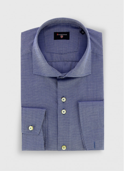 STANBRIDGE cutaway collar slim fit shirt - 87 - Petrol Blue