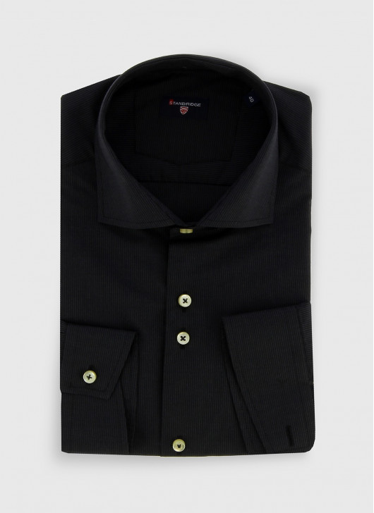 STANBRIDGE cutaway collar slim fit shirt - 01 - Black