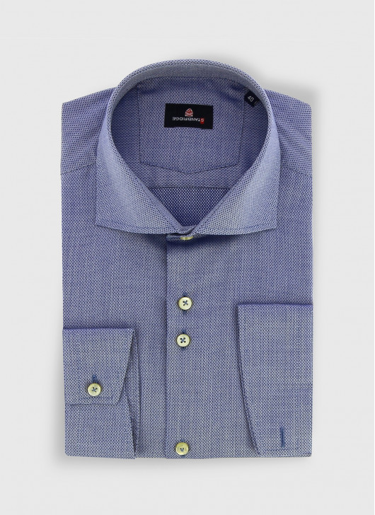 STANBRIDGE cutaway collar slim fit shirt - 84 - Denim Blue