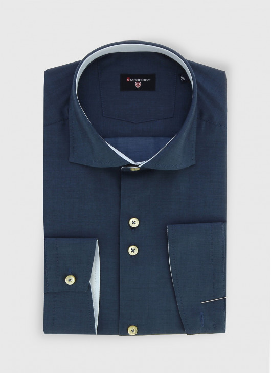 STANBRIDGE cutaway collar slim fit shirt - 88 - Navy Blue