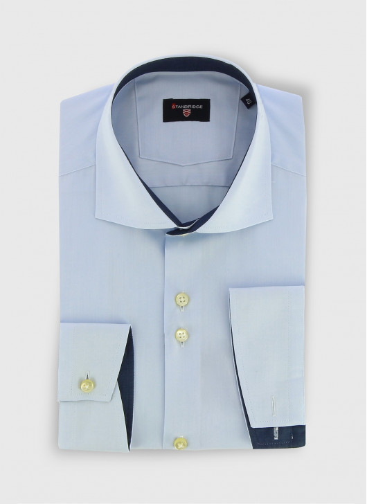 STANBRIDGE cutaway collar slim fit shirt - 81 - Sky Blue