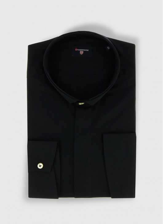 STANBRIDGE mao collar slim fit shirt - 01 - Black
