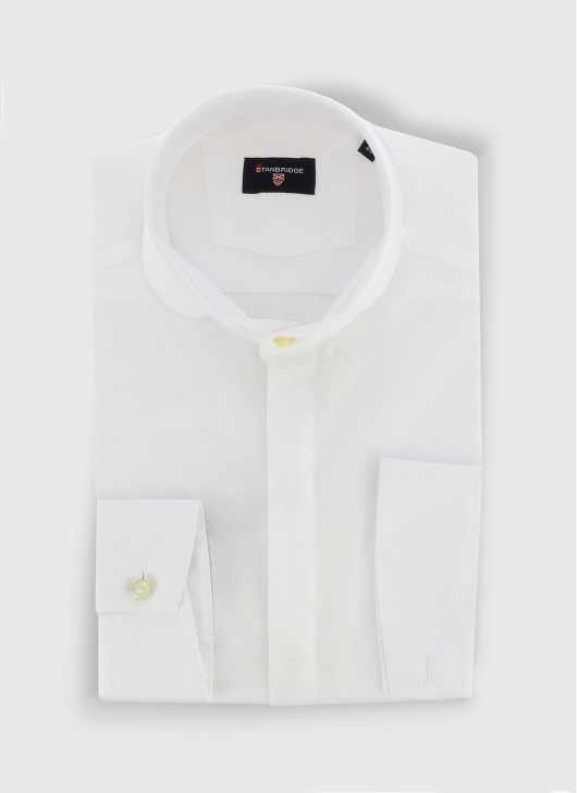 STANBRIDGE round collar slim fit shirt - 10 - White