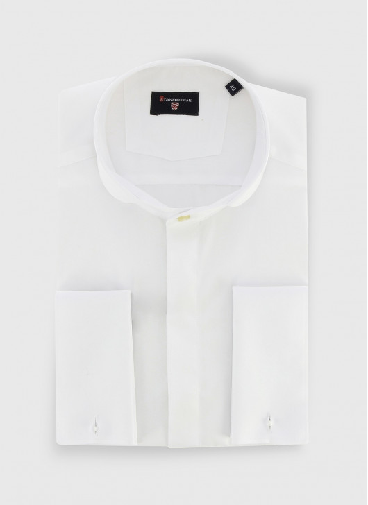 STANBRIDGE round collar musketeer cuffs slim fit shirt - 10 - White