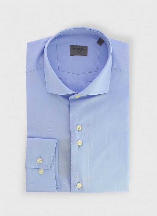 Chemise slim col italien Stanbridge - 84 - Bleu denim