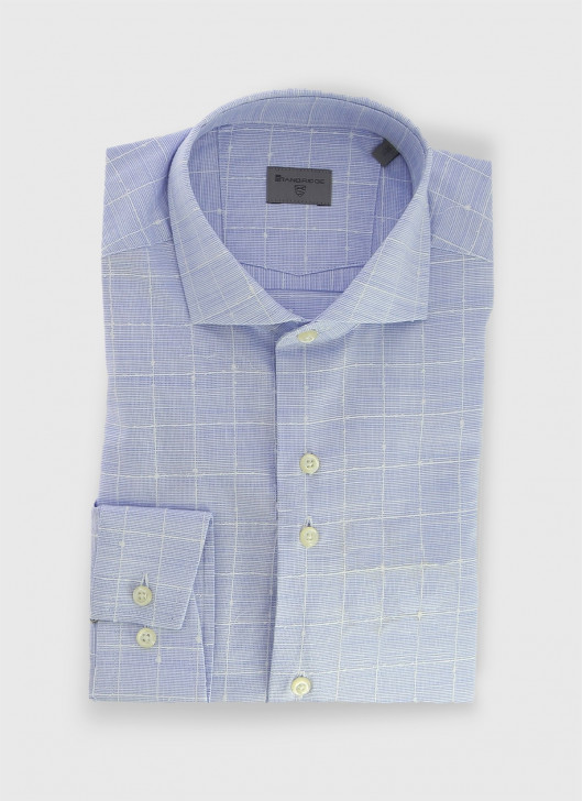 Italian collar slim shirt Stanbridge - 84 - Denim Blue